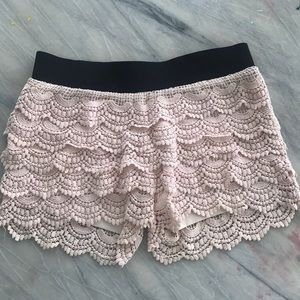 Pink lace shorts.
